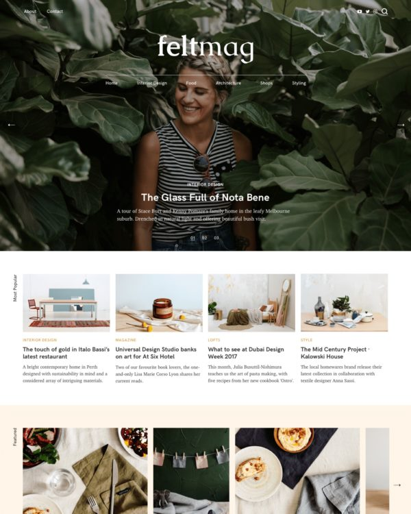 Felt Magazine WordPress Theme Homepage